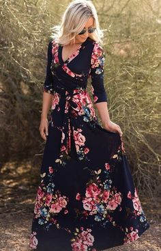 """Charlie"" Autumn floral wrap maxi dress"
