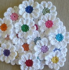 Handmade Small Crochet Flowers Appliques set by IreneStitches.