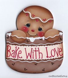 HP GINGERBREAD Bake With Love FRIDGE MAGNET