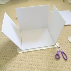 How to make Custom Sized Storage Boxes from Dollar store foam boards Step 4 - making custom sized storage boxes using craft foam boards- Sewing Room Storage, Diy Storage Boxes, Fabric Storage Bins, Fabric Boxes, Craft Room Storage, Paper Storage, Sewing Rooms, Craft Organization, Storage Ideas