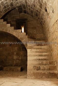 Stock Photo titled: Stone Staircase And Arched Ceiling Interior Of Medieval Castle Kolossi In Cyprus 2007 Year, unlicensed use prohibited