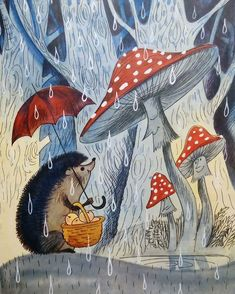 mushrooms and hedgehog art Children's Book Illustration, Illustrations, Hedgehog Illustration, Mushroom Art, Whimsical Art, Cute Art, Fantasy Art, Stuffed Mushrooms, Artsy