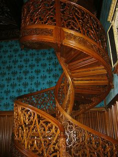 The library stairs in Lednice Castle, Czech Republic. Held together without a single nail and carved from one tree