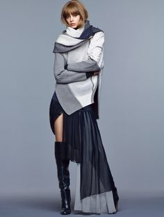 Blue/Grey Layers | Vogue China November 2014 | Ondria Hardin by Nathaniel Goldberg #style #fashion #editorial