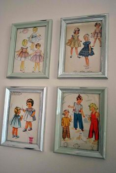 Vintage patterns as art LOVE this! Great idea for my sewing scrappin room....whenever i get one