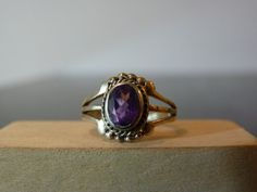 Vintage Silver Ring with Purple Amethyst by FourSailAccessories, $16.00