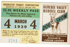 TROLLEY TICKET Pass Rochester New York March 4, 1939 Dog Show Genesee Valley   eBay