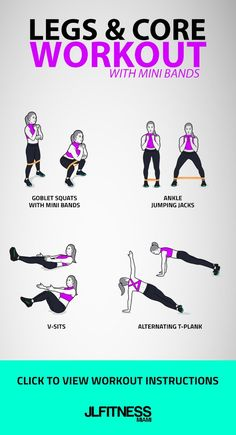 Legs & Core Workout with Mini Bands. Exercises: Goblet squats, Ankle Jumping Jacks, V-sits, Alternating T-plank. Informations About Legs & Core Workout (With Mini Bands) Pin You can easily use my prof Core Workout Routine, Six Pack Abs Workout, Abs Workout For Women, Gym Workouts, At Home Workouts, Band Workouts, Mini Band Exercises, Men Exercise, Dumbbell Workout