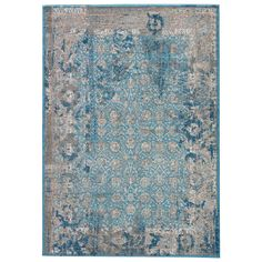 Machine Made Silver Mink 7 ft. 6 in. x 9 ft. 6 in. Vintage Look Area Rug, Silver Mink/Silver Lining