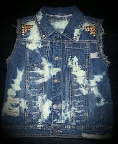 Distressed, Bleached and Studded Denim Vest- Boys- Girls- Baby- Toddler- Custom Made- Gold Embellishments   by DivineKidz on Etsy