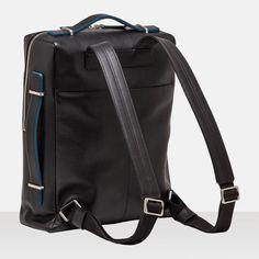 SAC A DOS Flaneur Noir - Bleu - Sac à dos Homme - LE TANNEUR. modern backpack #structure #colored lining