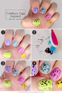Easter nail art inspired from Cadbury Mini Eggs. It makes me hungry just looking at them! http://hative.com/cool-and-easy-step-by-step-nail-art-designs/