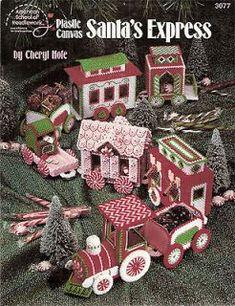 plastic canvas pattern book 3007 by Cheryl Hole Train Christmas