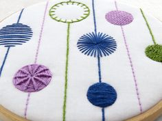 Modern Sampler Needlework Pattern Printed Fabric and Instructions. A modern hand embroidery pattern, digitally printed in colour onto 100% cotton ready for framing in a 6 inch embroidery hoop, also included full colour guide with illustrated stitch instructions. ☆ SPECIAL OFFER – 20% OFF ORDERS OVER £60 (approx $75) ☆ Use coupon code 20OFF60 at checkout ☆ The Design: A modern version of a hand embroidery classic. A contemporary and bold design features 9 different stitches to grow you...