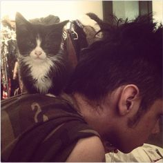 Andy and his cat :D so cute <3