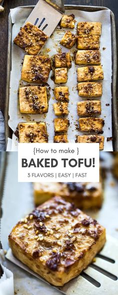 Baked tofu - three ways! How to make Baked Tofu! A delicious source of plant-based protein perfect for salads, spring rolls, Buddha bowls, or served with a side of veggies! Vegan and Gluten-Free adaptable. Tofu Recipes, Whole Food Recipes, Vegetarian Recipes, Cooking Recipes, Hamburger Recipes, Chicken Recipes, Healthy Chicken, Dessert Recipes, Dinner Recipes
