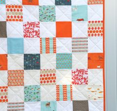 Blue and Orange quilt from Cluck Cluck Sew