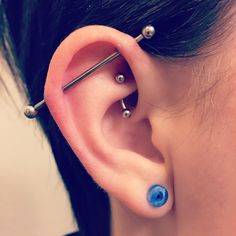 Healed #rook and fresh #scaffold #industrial #piercings by me. #piercing #ear #helix #cartilage