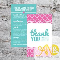 Great Packaging Idea!  Origami Owl Inspired Thank You and Jewelry Care Combo Card - Digital Download for Print on VistaPrint or other print shops.