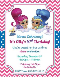 Nickelodeon Shimmer and Shine Invitations ~ Style #2