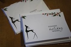 Handmade Holiday Cards Deer Mistletoe Set of 6