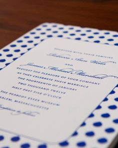 Polka Dot Invitation - would not be my pick, but there is something i like about it, just fresh and fun and blue is nice
