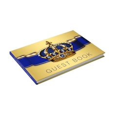 Shop Blue Gold Prince King Crown Guest Book created by The_Baby_Boutique. Elegant Wedding Themes, Gold Wedding Theme, Wedding Guest Book, Royal Blue And Gold, Blue Gold, Gold Baby Showers, Baby Boy Shower, Prince Birthday Party, 70th Birthday