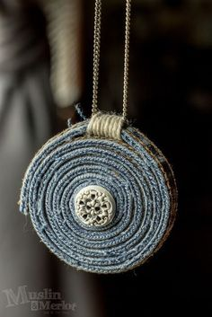 Embellishment - DIY Upcycled Blue Jean Necklace, Best Picture For DIY Upcycled Crafts For Good Luck Necklace, Evil Eye Necklace, Diy Necklace, Necklaces, Ribbon Necklace, Pendant Necklace, Jean Crafts, Denim Crafts, Textile Jewelry