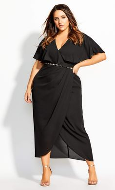 Wear his compliments like diamonds in the divine Enchantment Maxi Dress. Key Features Include: - Faux wrap V neckline - Cape style yoke & sleeve coverage - Pleated bodice detail - Fitted waistline - Removable gold jewel chain belt - Faux wrap max Chic Dress, Dress Up, City Chic Online, Pleated Bodice, Curvy Women Fashion, Plus Size Dresses, Ready To Wear, Life Skills, Dress Black