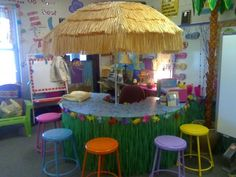 Guided Reading table in a beach themed classroom. Who wouldnt want to read at this table? Too cute! teaching-ideas