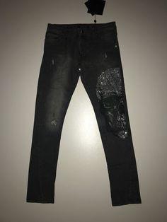 "Philipp Plein Men Jeans Denim Pants ""Dani"" Size 36 Grey / Black"
