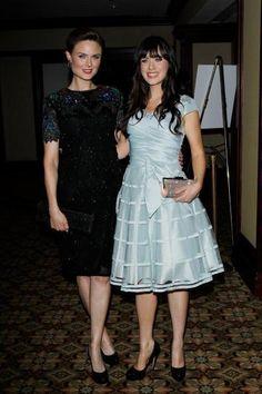 Emily & Zooey Deschanel. Love, love, love Zooey's style! #zooeydeschanel #style #actresses