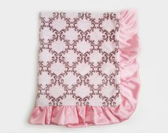 Sugar Plum luxury baby blankets featured here in a classic pink, white and silver damask minky velour. Elegantly handcrafted of premium quality fabrics.