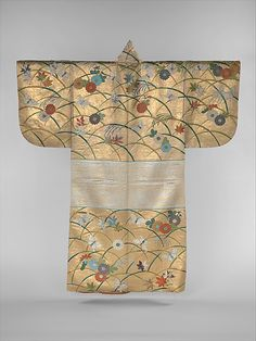 Japanese Embroidery Kimono Noh Robe (Nuihaku) with Design of Butterflies, Chrysanthemums, Maple Leaves, and Miscanthus Grass Second half of the C. Japan / Silk embroidery and gold leaf on silk satin - Japanese Textiles, Japanese Prints, Japanese Art, Japanese Beauty, Traditional Japanese, Kimono Design, Edo Period, Vintage Kimono, Japanese Outfits