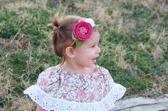 Felt flower headband pink and white felt by TreasuredPeach