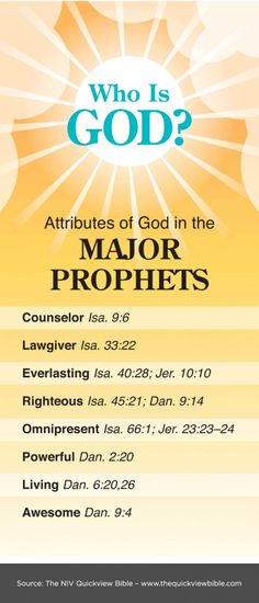 The Quick View Bible » Attributes of God in the Major Prophets