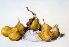 Charles Demuth, American, 1883 - 1935 Green Pears 1929 Watercolor over graphite x cm x 19 in. Sheet: x cm x 19 in. Framed: 61 x x cm x 30 x in.) Philip L. Goodwin, B. Collection, Gift of James L. Watercolor Illustration, Watercolor Paintings, Watercolors, Charles Demuth, Charles Green, Watercolor Techniques, Craft Items, Art History, Still Life