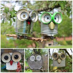 Tin can crafts Owl crafts Garden crafts Crafts Recycled crafts Kids Crafts, Tin Can Crafts, Owl Crafts, Diy And Crafts, Arts And Crafts, Paper Crafts, Crafts With Tin Cans, Garden Crafts, Garden Projects