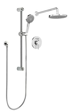 Sleek Round Rain Faucet Pressure Balanced Dual Function Dual Shower Head Complete  Shower System