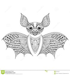 zentangle-bat-totem-adult-anti-stress-coloring-page-art-therapy-tribal-illustration-doodle-style-vector-monochrome-60164015.jpg (1300×1390)