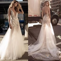 """Aisle of style on the streets of New York at Berta Bridal Fall 2017 Wedding Collection ad campaign featuring style """"17-136"""" deep V-neck fit-to-flare gown with handcrafted flower appliqués and embellished tulle train! @bertabridal #berta #bertabridal #newcollection #appliques #tulle #embroidery #lace #wedding #weddinggown #weddingdress #weddingshow #weddinginspiration #bridal #bride #bridetobe #bridalgown #bridaldress #bridalshow #bridalrunway #nybfw #nybridalmarket #nybridalfashionweek…"""