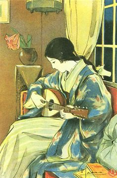Japan antique art. illustrator / Masawo Kato. kimono beauty lady. Syouwa. 1927.