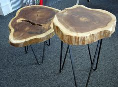 use my tree trunk nesting side tables with hairpin legs in living room