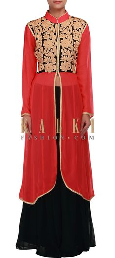 Buy Online from the link below. We ship worldwide (Free Shipping over US$100) http://www.kalkifashion.com/coral-anarkali-embellished-in-zari-embroidery-only-on-kalki-16106.html