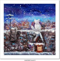 Free art print of Cat and winter. Original abstract oil painting of a domestic cat sitting on the roof on canvas.Winter scene.Modern Impressionism, modernism, marinism | FreeArt | fa32670509