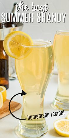Lemonade Beer is a refreshing summer shandy with a tangy combination of light beer and lemonade, and a shot of rum! Summer Shandy, Summer Drinks, Cocktail Drinks, Cocktail Recipes, Cocktails, Entree Recipes, Shot Recipes, Dessert Recipes, Drinks Alcohol Recipes