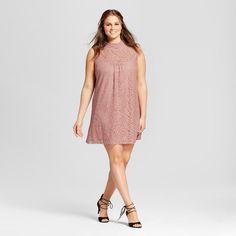 Women's Plus Size Lace Illusion High Neck Dress Purple 3X - 3Hearts (Juniors'), Pink