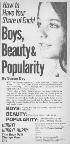 "Susan Dey, Model who played Laurie on the Partridge Family in this ad ""Boys, Beauty & Popularity"" Vintage Glamour, Vintage Ads, Vintage Models, Susan Dey Now, Old Advertisements, Books For Teens, 70s Fashion, Fashion Trends, Popular Culture"