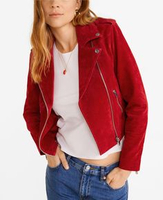 Mango TEXAS - Leather jacket - red for with free delivery at Zalando Moto Jacket, Leather Jacket, Suede Jacket, T-shirt Und Jeans, Denim Jeans, Plus Size Designers, Plus Size Shopping, Work Wear, Ideias Fashion