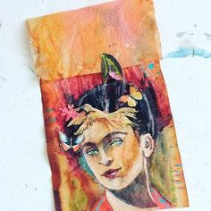 cre8TEAvity - tea bag art - Taking my try at a {blue-eyed!} Frida Kahlo inspired tea bag... I think I like her!  tea bag art